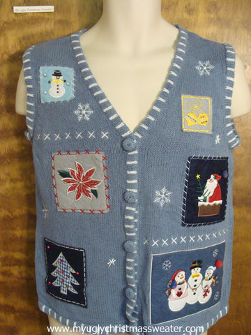Blue Holiday Knit Ugly Christmas Sweater Vest