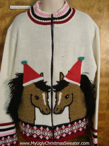 Horses in Santa hats Child Size Christmas Sweater