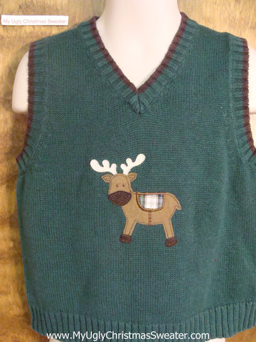 Reindeer with Plaid Saddle Child Size Christmas Sweater Vest