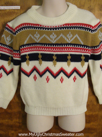 80s Tacky Patterned Child Size Christmas Sweater