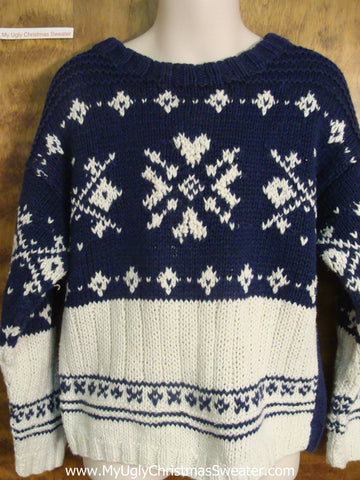 Blue and White Nordic Child Size Christmas Sweater