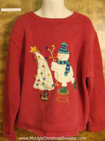 Snowman Decorating the Tree Child Size Christmas Sweater