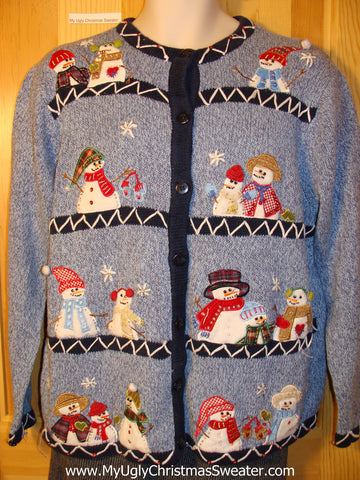 Tacky Cheap Ugly Christmas Sweater with Rows of Snowmen with Plaid Scarfs (f674)