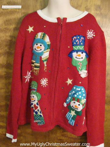 Colorful Snowmen Child Size Christmas Sweater