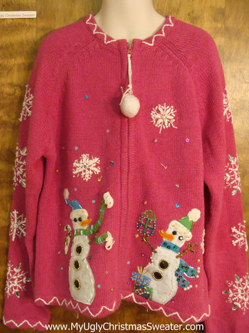 Bling Snowmen and Snowflakes Child Size Christmas Sweater
