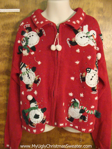 Bling Skating Snowmen Child Size Christmas Sweater