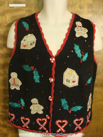 Gingerbread Houses and Men Horrible Christmas Sweater Vest