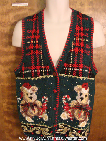 Christmas Teddy Bears Horrible Christmas Sweater Vest