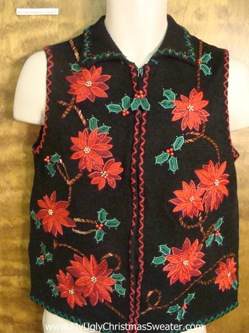 Tacky Poinsettias Horrible Christmas Sweater Vest