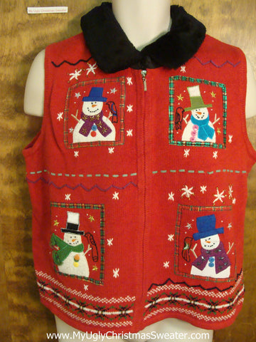 Snowmen with Birds Horrible Christmas Sweater Vest