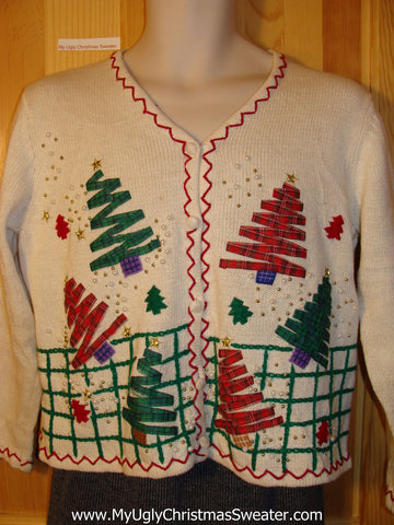 Tacky 2-Sided Ugly Christmas Sweater with Festive Green and Red Trees on Front and Back  (f676)