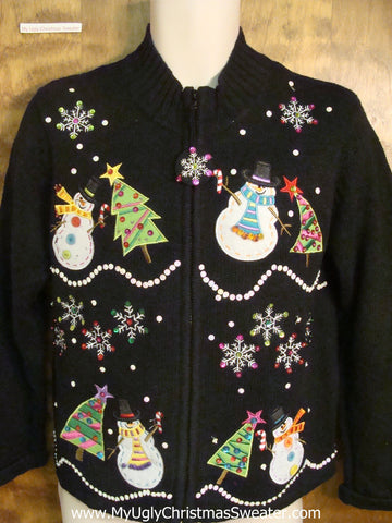 Bling Snowmen and Trees Horrible Christmas Sweater