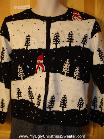 Tacky Cheap Ugly Christmas Sweater with Snowmen in a Winter Wonderland (f677)