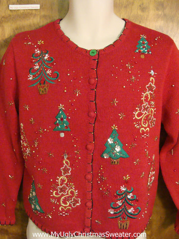 Sparkly Trees and Stars Horrible Christmas Sweater