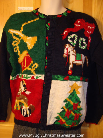 Tacky Cheap Ugly Christmas Sweater with Festive Horse, Drum, and Tree(f678)