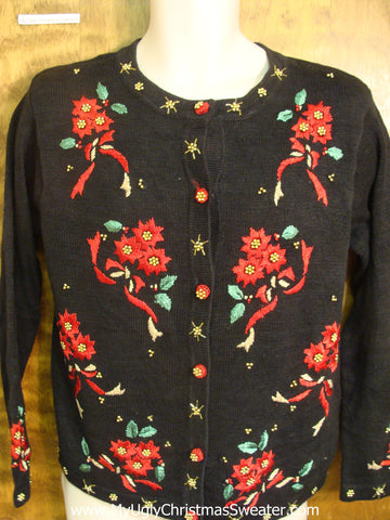 80s Poinsettias Horrible Christmas Sweater