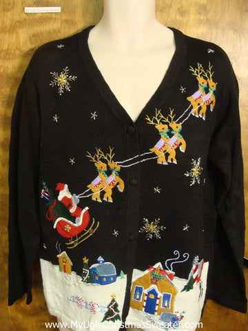 Santa Riding his Sleigh Horrible Christmas Sweater