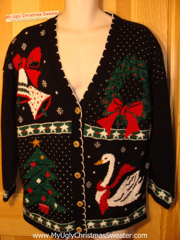 Tacky Ugly Christmas Cardigan Sweater 80s Acrylic Gem with Bells, Duck, Wreath, and Tree(f67)