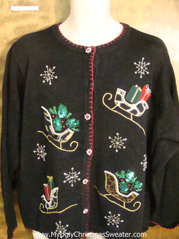 Sleighs Filled with Presents Tacky Xmas Party Sweater