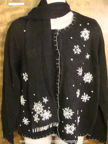 Simple Black with Snowflakes Tacky Xmas Party Sweater