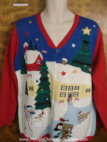 Patriotic Angel Tacky Xmas Party Sweater
