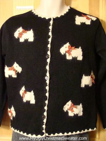Tacky Crazy Dog Lady Ugly Christmas Sweater with Festive Scotty Dogs on Front and Back (f680)