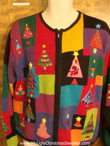 Patchwork with Trees Tacky Xmas Party Sweater