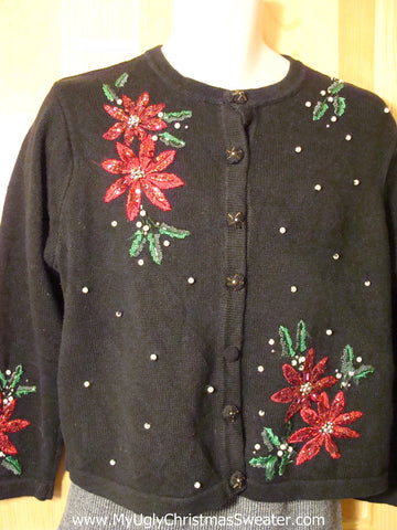Tacky Cheap Ugly Christmas Sweater with Bling Poinsettias (f681)