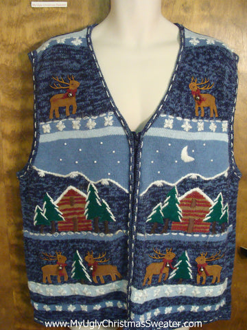 Cozy Log Cabins Tacky Xmas Party Sweater Vest