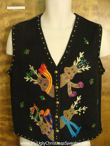 Reindeer Peek-a-Boo Tacky Xmas Party Sweater Vest