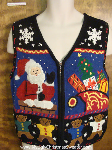 Santa Waving Tacky Xmas Party Sweater Vest