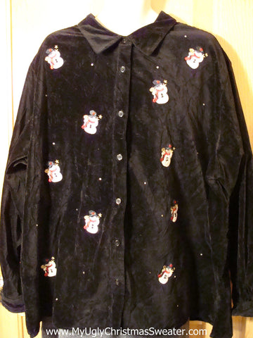 Tacky Cheap Ugly Christmas Sweater Party Velvety Snowman Shirt (f682)