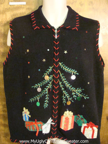 Non-Traditional Tree Tacky Xmas Party Sweater Vest