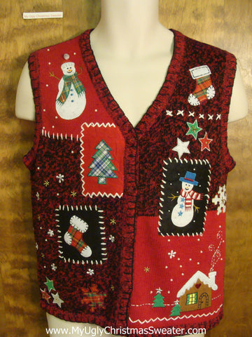 Snowy Holiday Day Tacky Xmas Party Sweater Vest