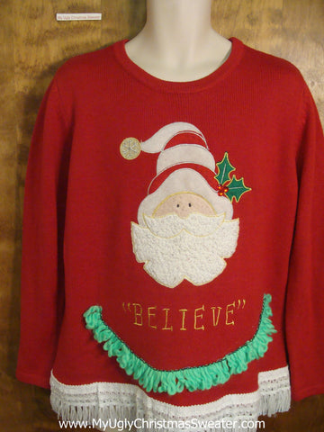 Believe in Santa Tacky Xmas Party Sweater