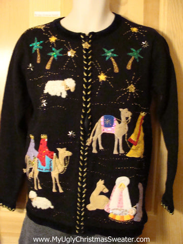 Tacky Amazing Religious Themed Ugly Christmas Sweater with Jesus, Mary, Joseph, and Wise Men (f683)