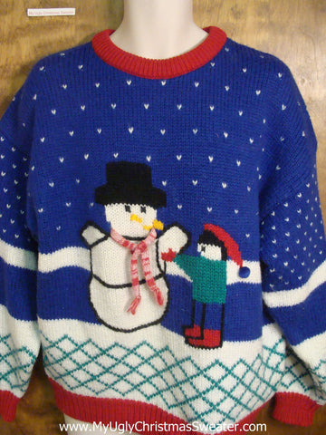 80s Kid Building Snowman Tacky Xmas Party Sweater
