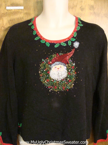 Santa Wreath Tacky Xmas Party Sweater