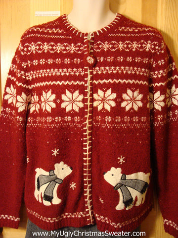 Tacky Cheap Red Ugly Christmas Sweater with Nordic Snowflakes and Festive Bears (f684)