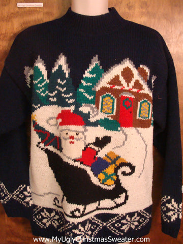 Santa in his Sleigh Tacky Xmas Party Sweater