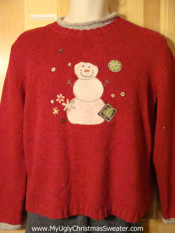 Tacky Cheap Ugly Christmas Sweater with Snowman and Festive Decorations  (f685)