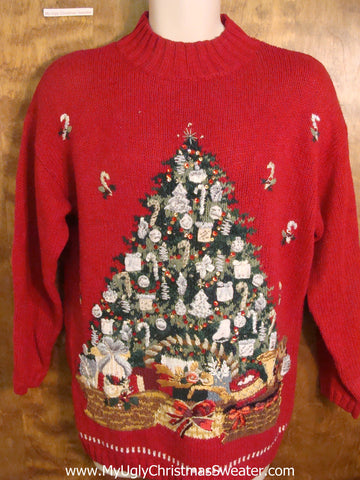 Christmas Tree with Tons of Presents Tacky Xmas Party Sweater