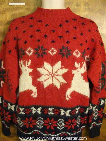 Vintage Snowflakes and Reindeer Tacky Xmas Party Sweater