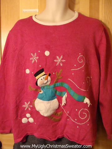 Tacky Cheap Pink Ugly Christmas Sweater with a Snowman in a Winter Wonderland (f686)