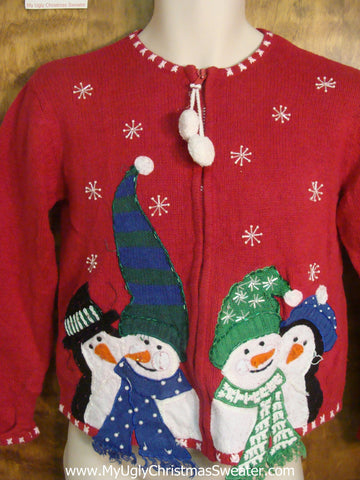 Snuggling Snowmen and Penguins Tacky Xmas Party Sweater