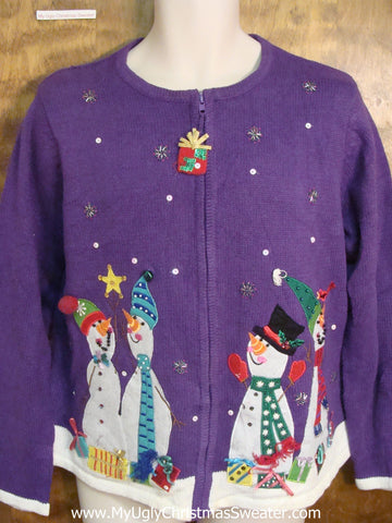 Colorful Snowmen with Presents Tacky Xmas Party Sweater