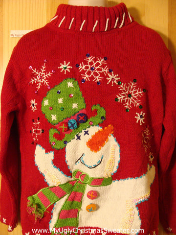 Child Size Tacky Cheap Ugly Christmas Sweater with Huge Festive Carrot Nosed Snowman (f687)