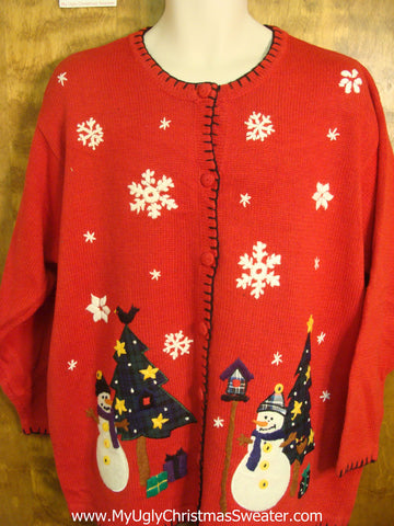 Merry Christmas Snowmen Tacky Xmas Party Sweater