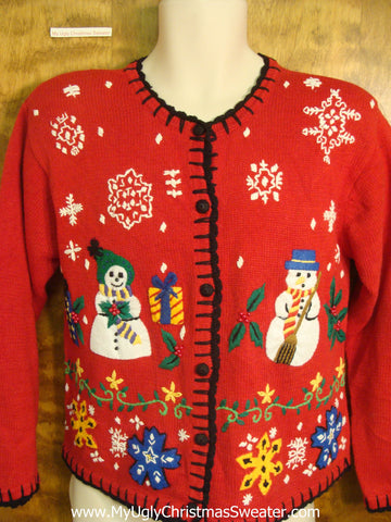 80s Snowman Couple Tacky Xmas Party Sweater