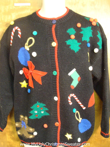 Big Bow and Holiday Fun Tacky Xmas Party Sweater